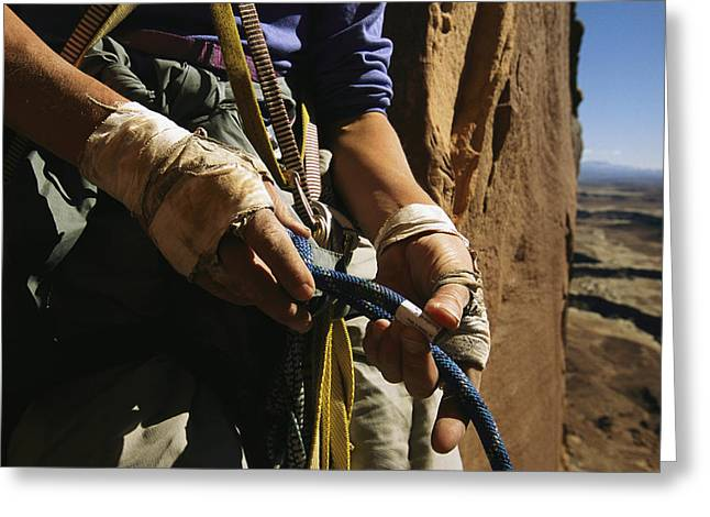 Etc. Greeting Cards - Rock Climber Becky Halls Wrapped Hands Greeting Card by Bill Hatcher