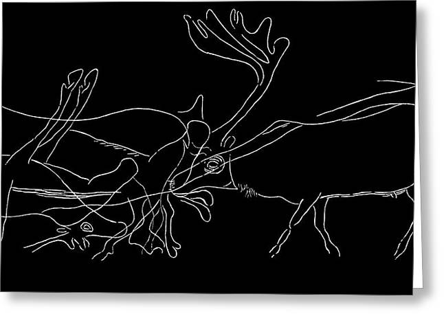 Upper Paleolithic Greeting Cards - Rock Engraving Of Reindeer, Artwork Greeting Card by Sheila Terry