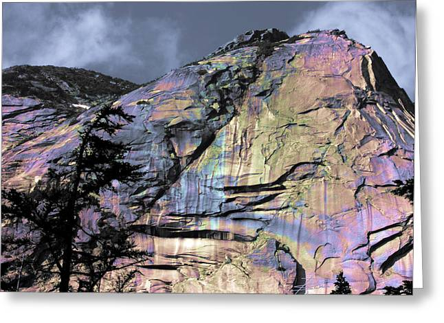 Opalescent Greeting Cards - Rock Face on the Coquihalla Greeting Card by Barbara  White
