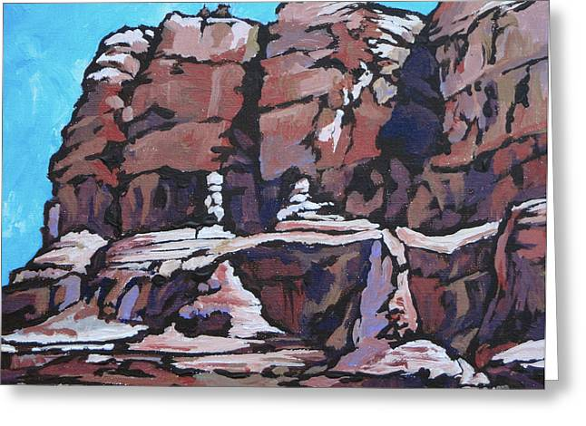 West Fork Paintings Greeting Cards - Rock Face Greeting Card by Sandy Tracey
