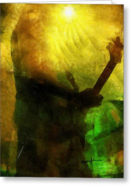 Stage Lights Greeting Cards - Rock Guitarist Greeting Card by Anthony Caruso