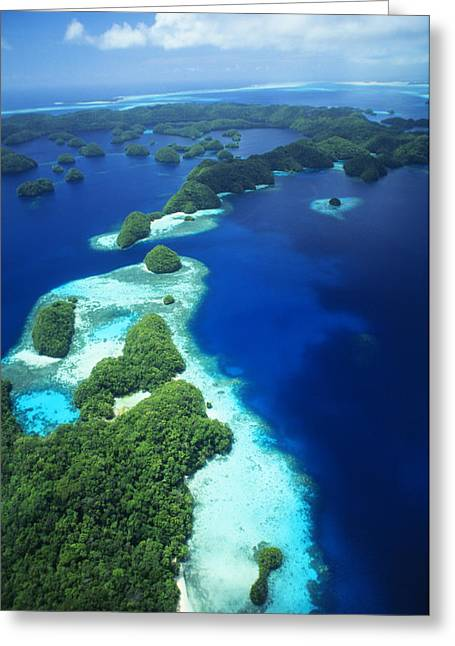 Far Above Greeting Cards - Rock Islands Aerial Greeting Card by Allan Seiden - Printscapes