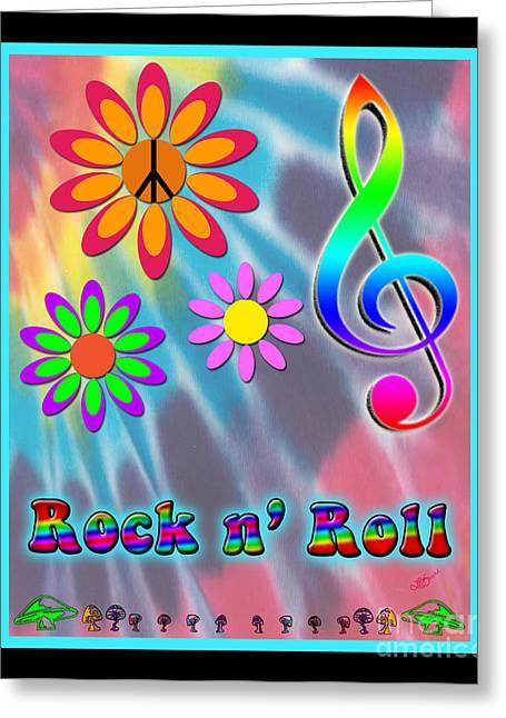 Purple Mushrooms Digital Greeting Cards - Rock Music Poster Greeting Card by Linda Seacord