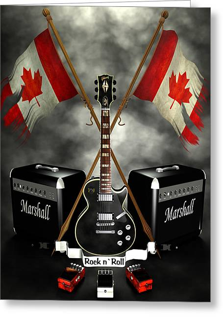 Frederico Borges Digital Greeting Cards - Rock n Roll crest- Canada Greeting Card by Frederico Borges