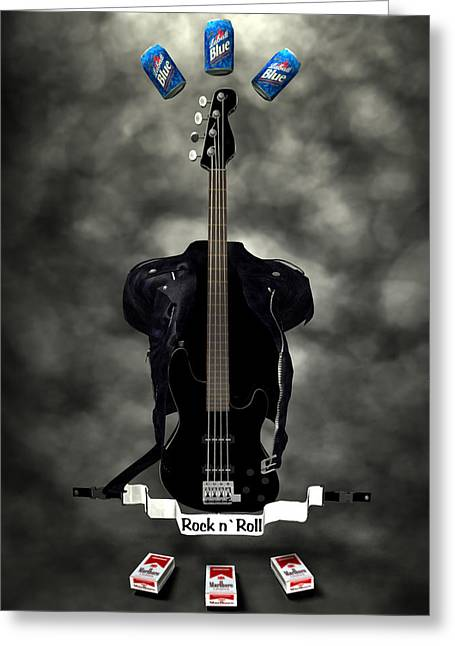 Frederico Borges Greeting Cards - Rock N Roll crest-The bassist Greeting Card by Frederico Borges
