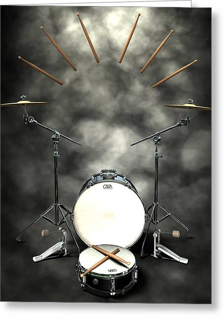 Frederico Borges Greeting Cards - Rock N Roll crest-The drummer Greeting Card by Frederico Borges