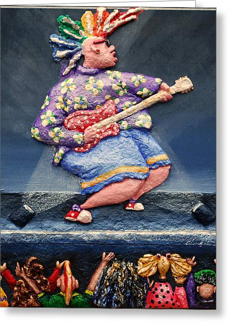 Blues Reliefs Greeting Cards - Rock On Greeting Card by Alison  Galvan