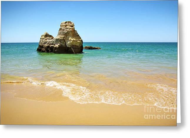 Rock on Beach Greeting Card by Carlos Caetano