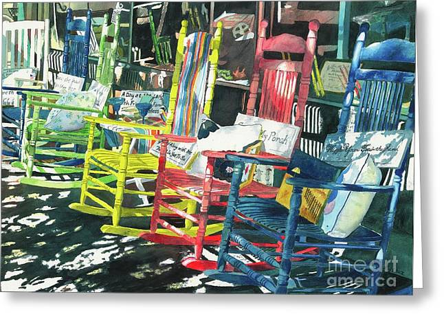 Rocking Chairs Paintings Greeting Cards - Rock On Greeting Card by LeAnne Sowa