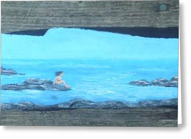 Rock Sculptures Greeting Cards - Rock painting-Nude woman at ocean Greeting Card by Monika Dickson-Shepherdson