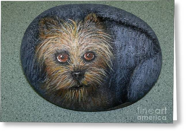Puppies Sculptures Greeting Cards - Rock Painting-Yorkie Greeting Card by Monika Shepherdson
