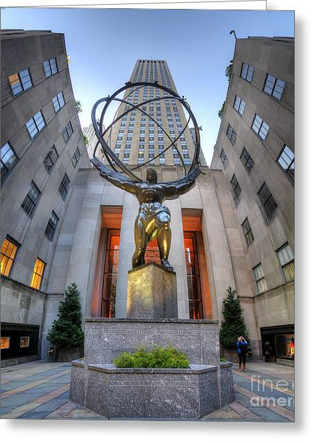 Hdr Look Greeting Cards - Rockefeller Centre Atlas - NYC - Vertorama Greeting Card by Yhun Suarez