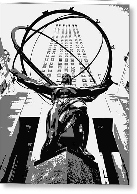 True Melting Pot Greeting Cards - Rockefeller Plaza BW3 Greeting Card by Scott Kelley