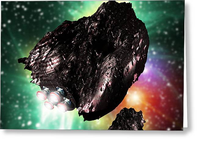 Rocket-controlled Asteroids Greeting Card by Victor Habbick Visions