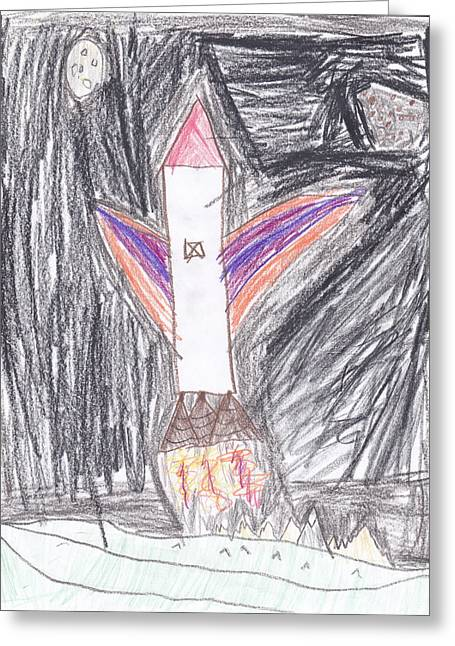 Space Shuttle Drawings Greeting Cards - Rocket Launch Greeting Card by Margaret Acker
