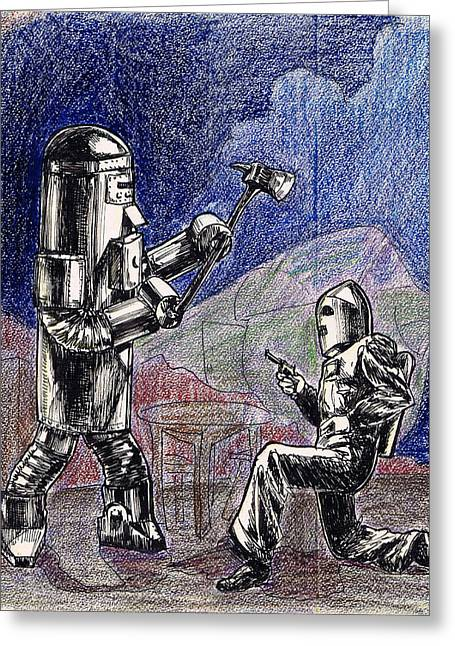 1950s Movies Greeting Cards - Rocket Man and Robot Greeting Card by Mel Thompson
