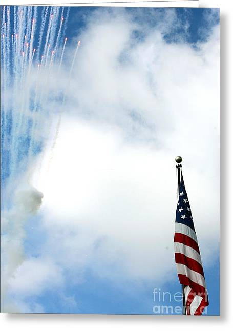 Patrotic Greeting Cards - Rockets Red Glare Greeting Card by Alan Look
