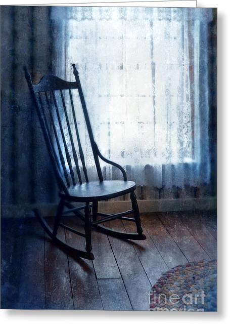Rag Rug Greeting Cards - Rocking Chair by Window Greeting Card by Jill Battaglia