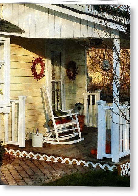 Houses Greeting Cards - Rocking Chair on Side Porch Greeting Card by Susan Savad
