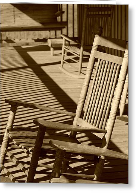 Rocking Chairs Digital Art Greeting Cards - Rocking Chair Porch in sepia Greeting Card by Suzanne Gaff