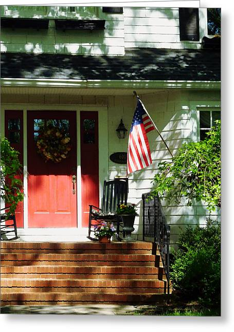 Flag Greeting Cards - Rocking Chairs by Red Door Greeting Card by Susan Savad
