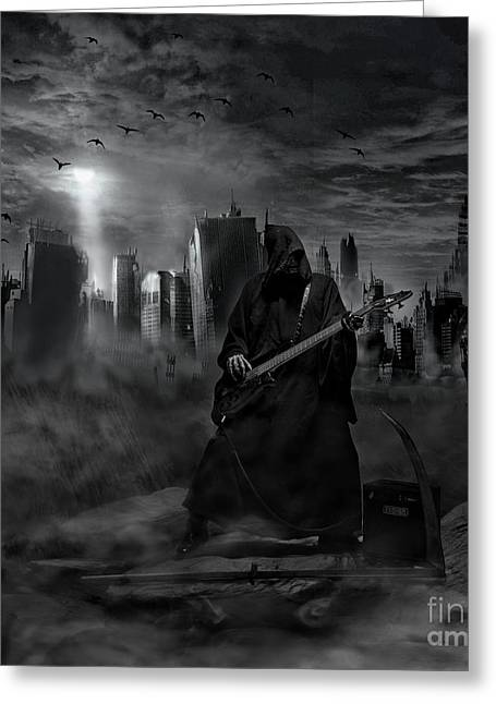 Souls Pyrography Greeting Cards - Rocking Reaper Greeting Card by Eugene James