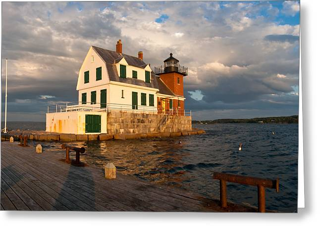 Recently Sold -  - Maine Lighthouses Greeting Cards - Rockland Breakwater Lighthouse in Maine Greeting Card by Steven Wynn