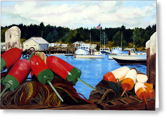 Lobster Bouys Greeting Cards - Rockland Harbor Greeting Card by Laura Tasheiko