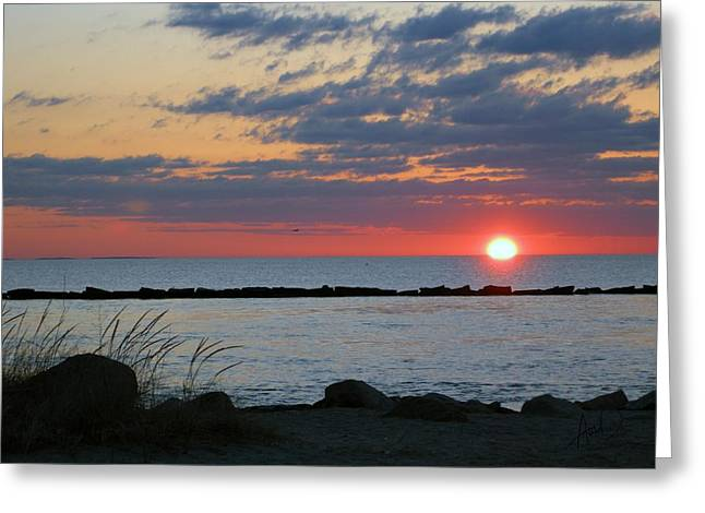 Photorealism Greeting Cards - Rockland Harbor Sunrise Sunset Early Comes the Day Greeting Card by Douglas Auld