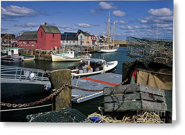 Red Fishing Shack Greeting Cards - Rockport - FM000070 Greeting Card by Daniel Dempster