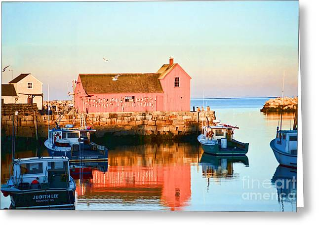 Rockport Ma Greeting Cards - Rockport at Sunset Greeting Card by Edward Sobuta