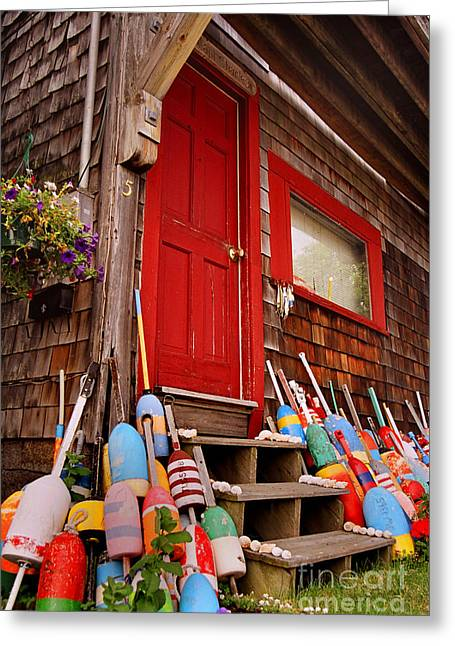 Clapboard House Greeting Cards - Rockport Buoys Greeting Card by Joann Vitali