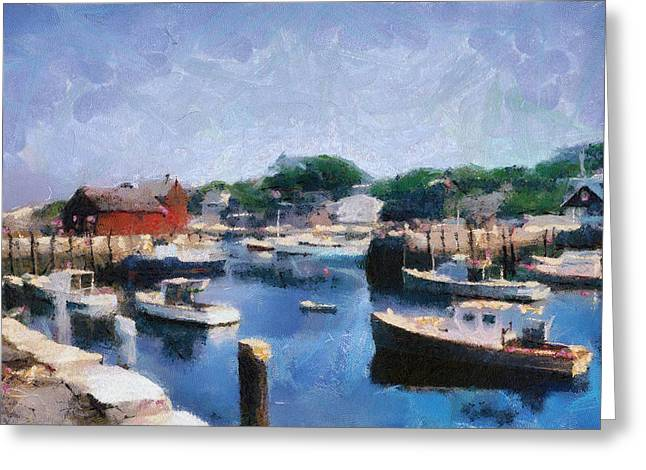 New England Village Greeting Cards - Rockport Maine Harbor Greeting Card by Michelle Calkins