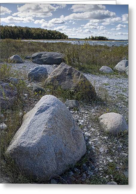 North Point Greeting Cards - Rocks along the Shore at North Point Greeting Card by Randall Nyhof