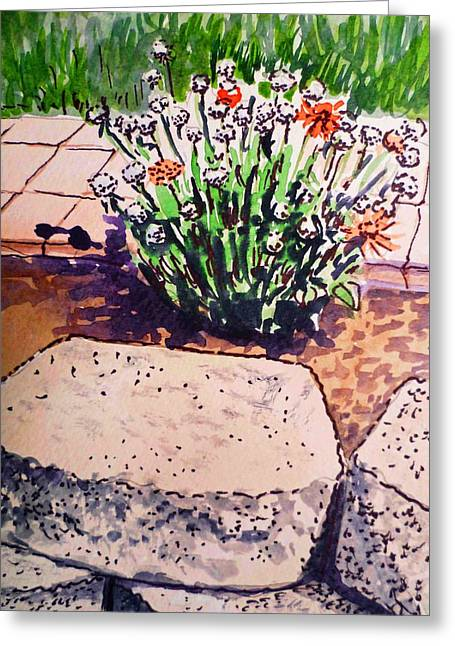Sketch Book Greeting Cards - Rocks and Flowers Sketchbook Project Down My Street Greeting Card by Irina Sztukowski