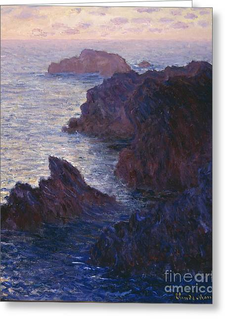 Signature Greeting Cards - Rocks at Bell Ile Port Domois Greeting Card by Claude Monet