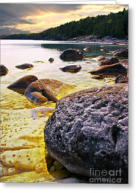 Huron Coast Greeting Cards - Rocks at Georgian Bay shore Greeting Card by Elena Elisseeva