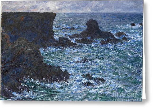 Sea Lions Paintings Greeting Cards - Rocks at Port Coton the Lion Rock Greeting Card by Claude Monet
