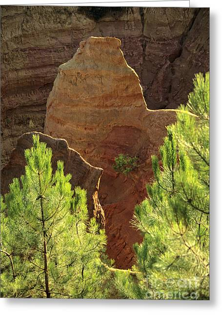 Vaucluse Greeting Cards - Rocks. Ochre.  Roussillon. Luberon. France. Europe Greeting Card by Bernard Jaubert