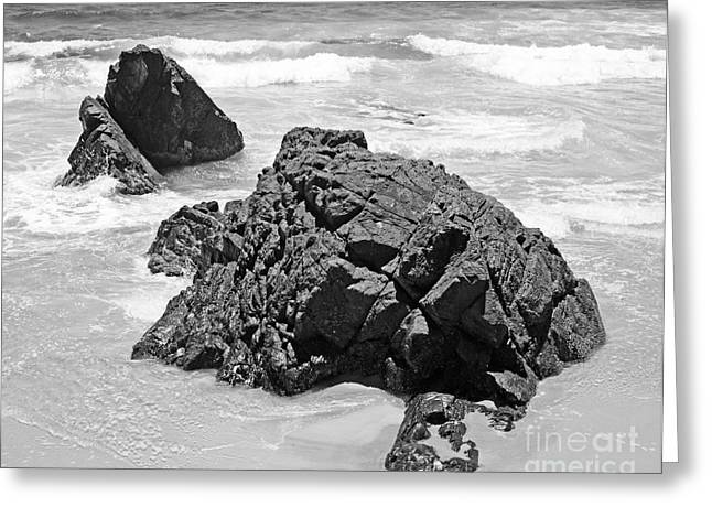 Byron Greeting Cards - Rocks On a Beach Byron Bay Black and White Image Greeting Card by Chris Smith