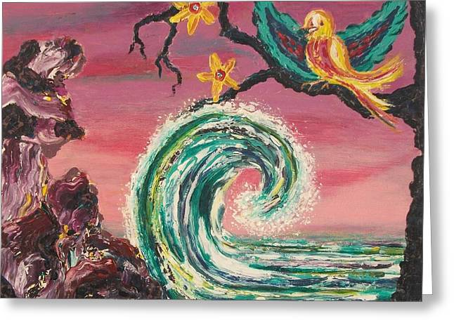 Suzanne Marie Leclair Paintings Greeting Cards - Rocks Wave and Bird Greeting Card by Suzanne  Marie Leclair