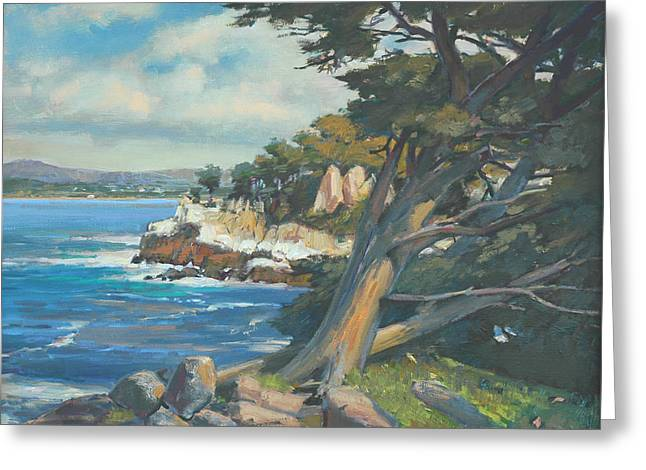 Point Lobos Greeting Cards - Rocks Wind and Sea Greeting Card by Paul Youngman