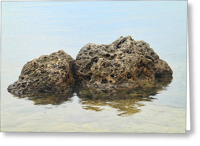 Inner Harmony Greeting Cards - Rocks with reflection Greeting Card by Rudy Umans