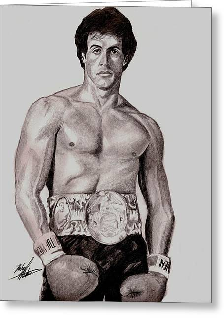 Boxer Drawings Greeting Cards - Rocky 3 Greeting Card by Michael Mestas