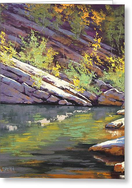 River Paintings Greeting Cards - Rocky Bank Greeting Card by Graham Gercken