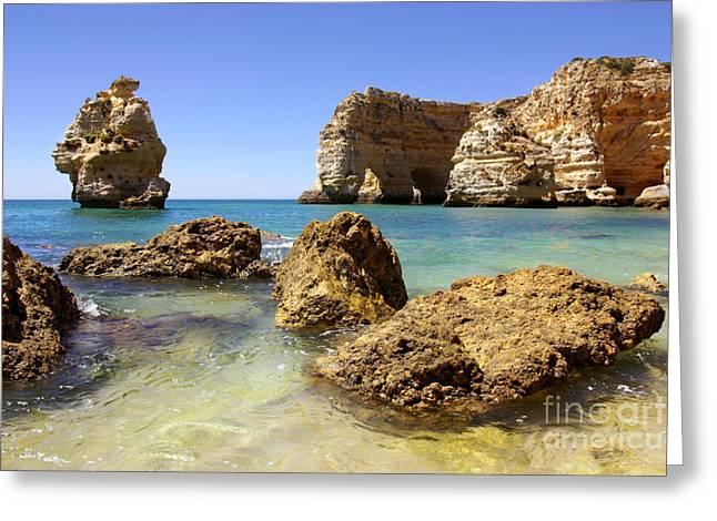 Algarve Greeting Cards - Rocky coast Greeting Card by Carlos Caetano