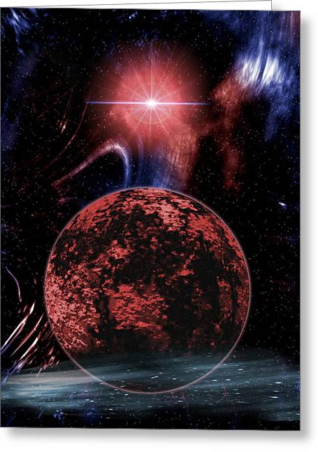 Rocky Extrasolar Planet Greeting Card by Victor Habbick Visions