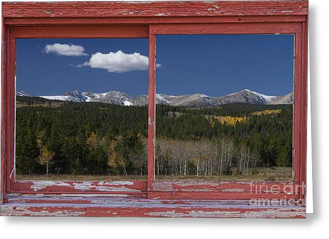 Rocky Mountain Autumn Red Rustic Picture Window Frame Photos Art Greeting Card by James BO  Insogna