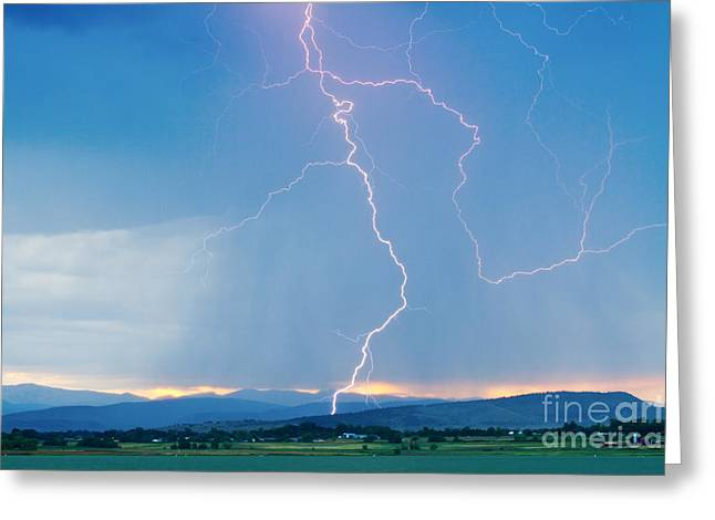 Lightning Gifts Greeting Cards - Rocky Mountain Front Range Foothills Lightning Strikes 1 Greeting Card by James BO  Insogna