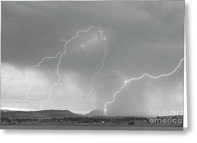 Lightning Gifts Greeting Cards - Rocky Mountain Front Range Foothills Lightning Strikes BW Greeting Card by James BO  Insogna
